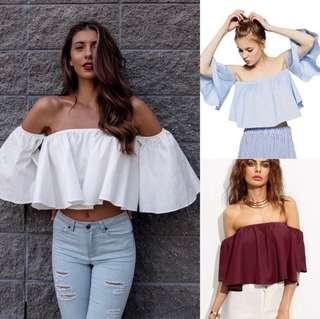 🚚 (PO) Sleeveless Flare Off The Shoulder Top