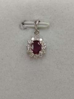 18K White Gold Ruby with Diamonds Pendant