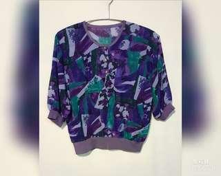 《壓箱寶》二手古著 紫色花POLO 衫