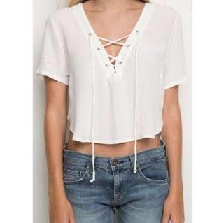 🚚 Lace Up White Crop Top