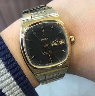 88%NEW 古董 OMEGA SEAMASTER 少有黑面金套 全自動 快跳星期日曆 水晶玻璃 34mm錶面 $5800