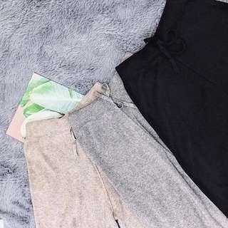 全新韓國卡其針織寬褲