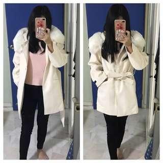 Wool coat spring jacket with hood parka