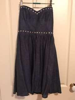 Kate Hurst linen strapless dress with pockets sz 10