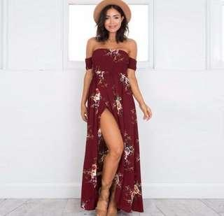 Floral off-shoulder Maxi