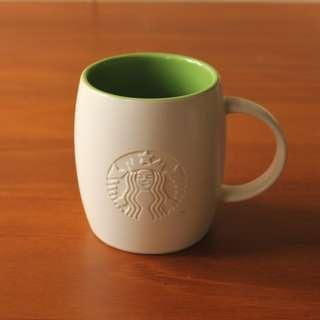 Starbucks星巴克 2011 女神LOGO浮雕 綠色馬克杯 355ml