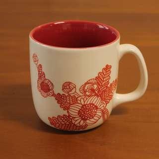 Starbucks星巴克 2011 紅色 剪紙 花草 馬克杯