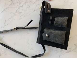 $120 Witchery felt satchel purse wallet handbag shoulder bag