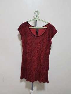 Zara red leopard top