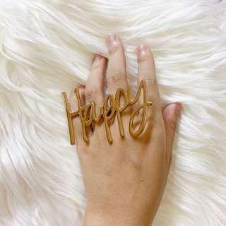 'Happy' GOLD RING