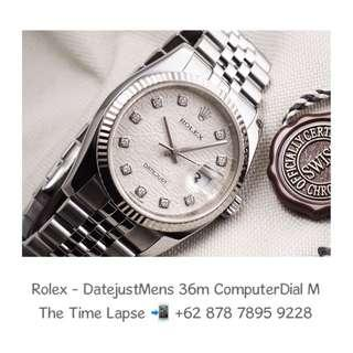 Rolex - Datejust Mens 36m, Diamonds Index, Silver Computer Dial Stainless Steel 'M'