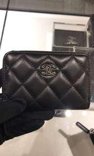 Chanel Card holder 黑色黑扣 羊皮