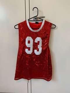 $140 L'America red sequin varsity top/dress