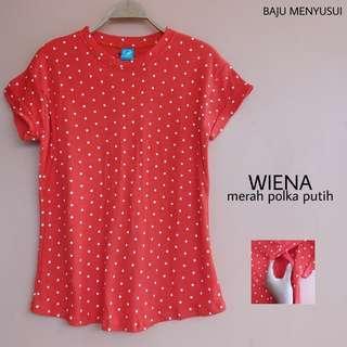 Baju Menyusui - Wiena Series (Merah Polka Putih)