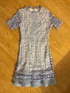 🚚 Korean Dusty Blue Crochet Dress