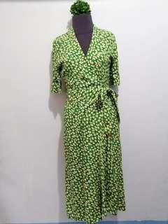 Green Floral Wrap Around Dress