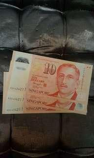 🚚 $10 note same no.