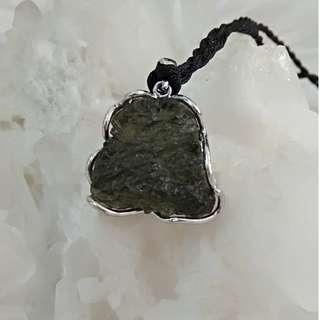 天然水晶 捷克隕石吊墜  20mm x 23mm