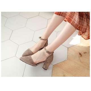 🚚 FM訂製款-甜美法式絨踝扣尖頭包鞋/25號/7公分
