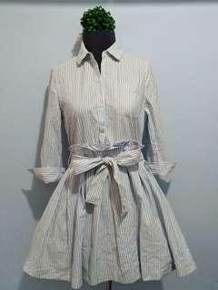 Powder Blue Stripes Dress with Belt