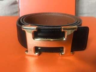 Hermès Belt Reversible Black / Caramel Size 85