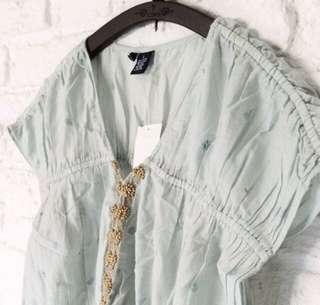 Brand New Bohemian Blouse In Vintage Green