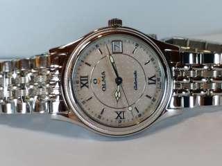 OLMA 瑞士奧爾馬手錶,機械自動,約80年代生產,約38mm,全新庫存品NOS New Old Stock,  有盒。