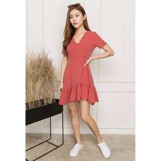 🚚 TSA Label* Vierra Ruffled Hem Dress In Terra Rose