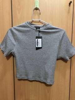 [BNWT] Zalora Basic Rip Crop Top Grey