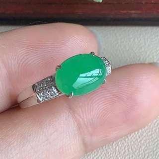 冰翠綠翡翠戒指 18K金真金真鑽鑲嵌