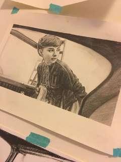 奧黛莉赫本。親筆手繪素描,只有名信片那麼大 。