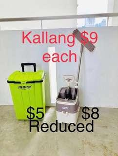 $8 Cleaning equipment  mop $5 container box with trolley wheels