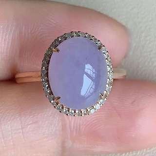 冰紫羅蘭翡翠蛋面戒指