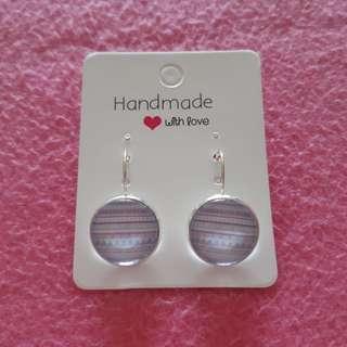 🚚 Pink / Orange Cabochon Drop Earrings [Silver]
