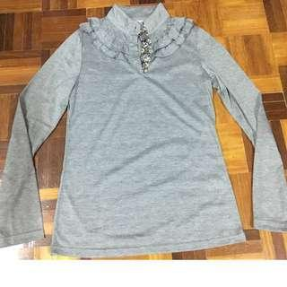 Nicole high neck button up grey long sleeve top size M #MMAR18