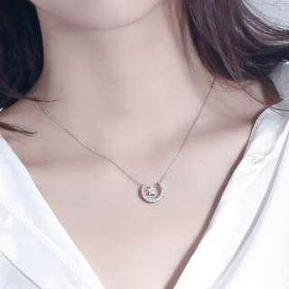 🚚 Layered crescent moon and star collarbone necklace - S925 - Sterling Silver - Korean - Minimalist