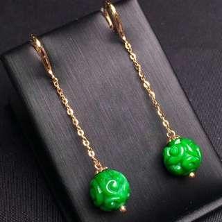 滿綠翡翠耳環 18k金真金鑲嵌