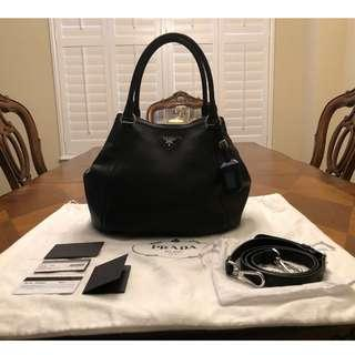 fee8e3ae8c Prada Sacca Vitello Daino Nero Pebbled Leather Hobo Bag
