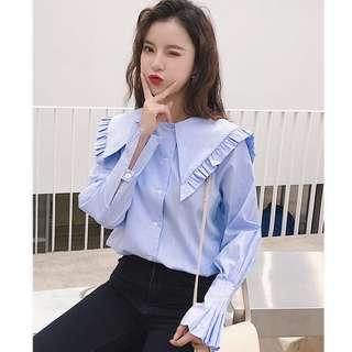 💋 Striped Bell Sleeve Blouse