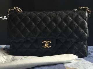 Chanel Classic Double Flap Jumbo Black Cavier 黑金牛皮魚子醬 #MILAN02
