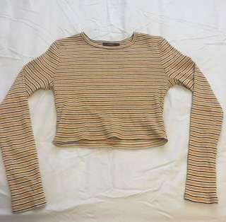 Yellow/white/black stripe cropped long sleeve