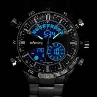 (全新福利品庫存出清)全新正品 INFANTRY 特務黑 頂級軍規腕錶 黑鋼錶帶計時 電子指針 冷光 雙顯示 手錶