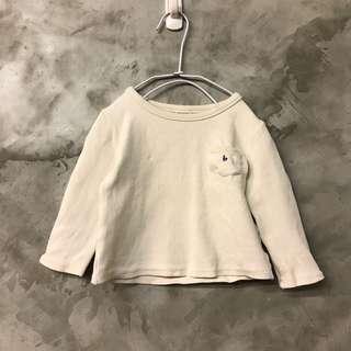 贈送-有買就送 韓國製 BNT米白色厚棉彈性長袖上衣 肩寬27 胸寬31 全長32 部分污