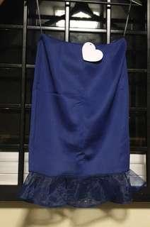 🚚 Blue Skirt with Organza trimmings