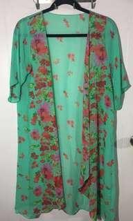 Flowy Floral Kimono (Green)