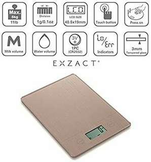 Exzact Electronic Kitchen Scale, EX9150 Super Slim (1.4 CM) Food Weighing Scale/Digital Scale - Tempered Glass Platform - Touch Button - Battery Included - 5kg/11lb (Gold)