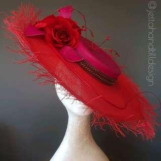 Red Boater Hat Fashion wide brim spring racing