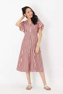 AFA kelly striped pocket dress in red