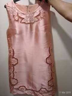 🚚 Peach Pink satin embroidery dress