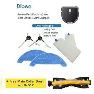Dibea D960 Robot Vacuum Replacement Parts - Bundle B - 2x side brush, 2x Hepa Filter & 2x Mop Cloth (+ free main roller brush worth $12)